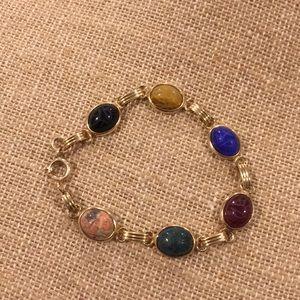 Vintage Gemstone 12k Gold Filled Scarab Bracelet
